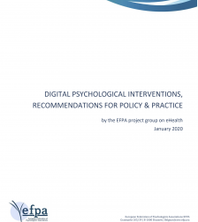 EFPA Digital Psychological Interventions, Recommendations for Policy & Practice